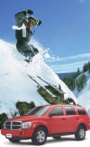 skier with car rental