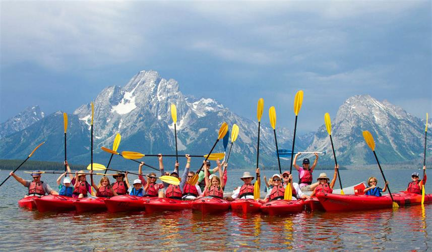 Grand Tetons kayakers