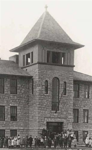 historical picture of the stone school house