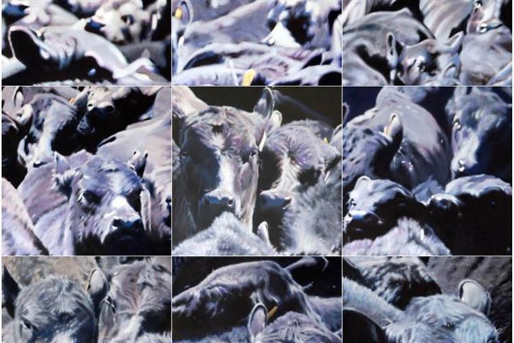 Oil on Canvas; 9- panels, 72 x 72
