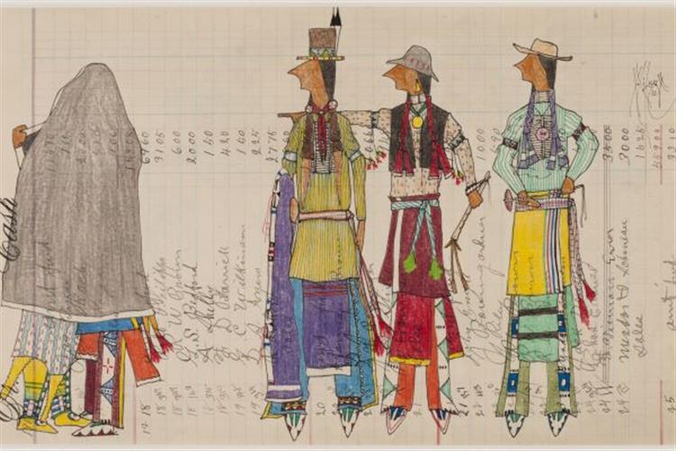 """""""Get A Teepee Already"""" by Dwayne Wilcox, whose ledger drawings are on display at the Holter Museum"""