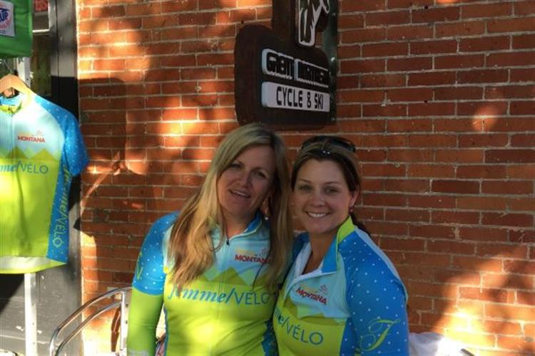 Two of our returning riders enjoying their new jersey's before the ride begins