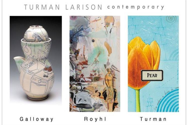 Ceramics by Julia Galloway and paintings by Robert Royhl & Doug Turman