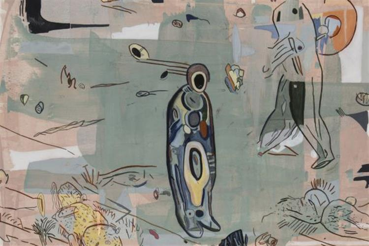 """Spaceman,"" egg tempra on paper by Robert Royhl"