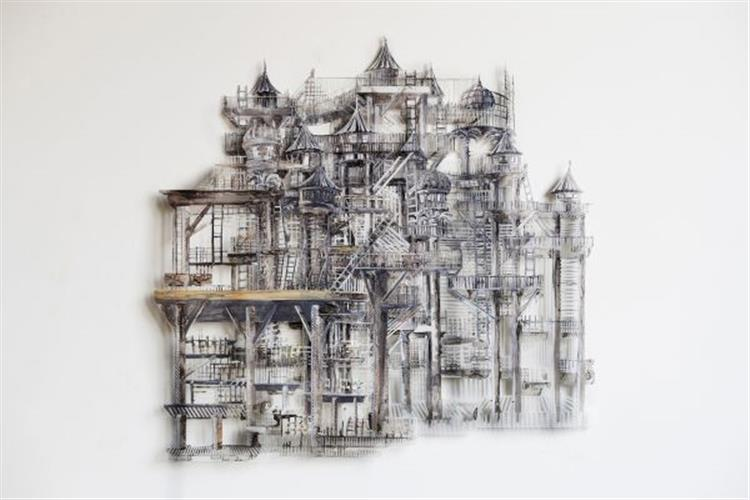Jodi Lightner, Invisible Cities-Trope, 2015, Acrylic and ink on mylar